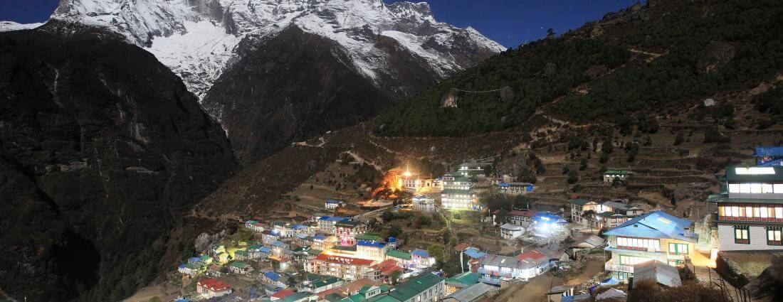Namche Bazaar at evening