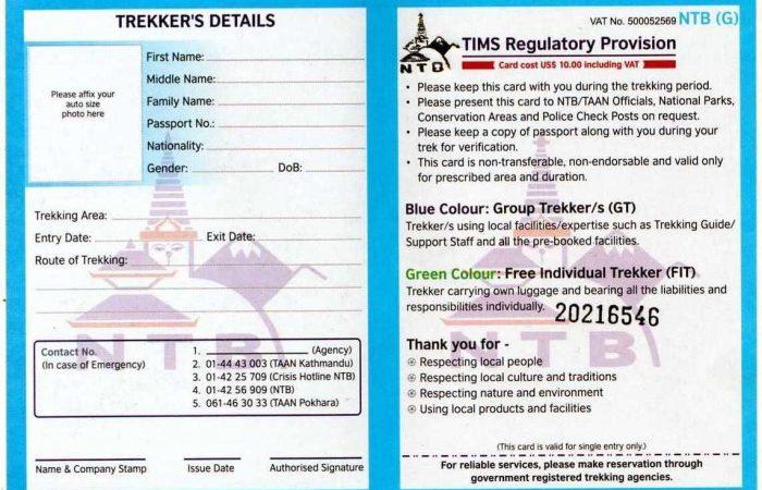 TIMS Card - nepal trekking permits