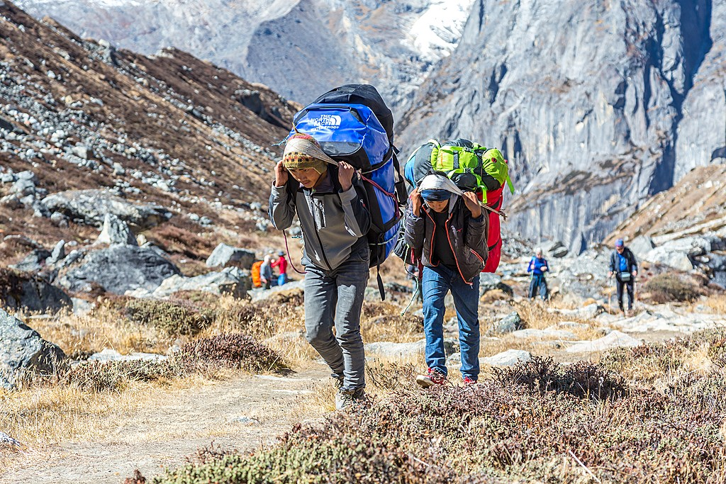 Tour guides and porters in nepal