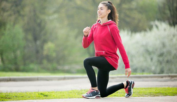 downhill lunge hiking exercise